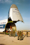 The Norwegian Company arrived at Christmas time, 1992. I arrived in this russian Antonov An-124 - one of the largest airplanes in the world.