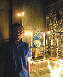 ...and this is me inside the holiest of the holy. This is claimed to be the burial chamber of Jesus. It might not have looked quite like this at that time, though.