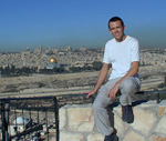 This picture of me was taken from the top of the Mount of Olives, overlooking the Old City. The golden dome is the Dome of the Rock, the third holiest muslim site in the world.