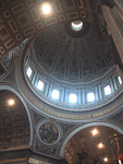 The dome, decorated by Michelangelo, rises 119 meters above the floor.