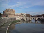 Castel Sant' Angelo next to the Tiber river.