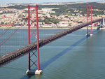 Ponte 25 de Abril connecting Lisbon with the southern estuary of the river Tejo.
