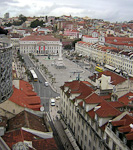 Praca Dom Pedro IV, also known as Rossio, is the central square of Lisbon. The picture was taken from the top of the Santa Justa elevator that takes people up the steep hills of the city.