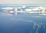 Isfjorden (the Ice Fjord) seen from the airplane. There are daily flights to Longyearbyen from the mainland.