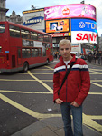 Anton at Piccadilly Circus.
