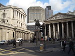 Bank of England (left) and the Royal Exchange (right). In the background is Tower 42 (formerly know as NatWest Tower), which was the tallest building in Europe from its completion in 1979 until 1991.