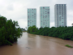 (English) It had been raining a lot lately (because of the Category 5 hurricane Rick), and the rivers were quite full.