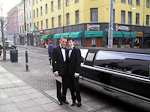 Outside the courthouse, in front of the limousine we hired for the day.