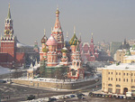From my hotel room on the 10th floor of Hotel Rossia, I had a view to St. Basil's Cathedral, and the Kremlin. The Red Square is behind the cathedral.