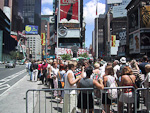 Should one have any ideas about seeing a Broadway musical, one should plan ahead. This is the line in front of the box office at Times Square.