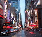 The entertainment district around Times Square. As you can see, it can rain in New York too.