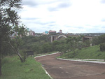 Ciudad del Este seen from the Brazilian side of the border. The bridge crosses the Paraná river, which forms the border between Paraguay and Brazil (and also between Paraguay and Argentina further south).
