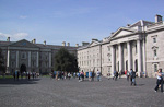 The Front Square of Trinity College. This college is the most famous institution in Ireland, and the oldest university of the country, founded in 1592 by Queen Elizabeth I to rectify the barbarism of the Irish people.
