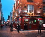 The Temple Bar in the Temple Bar district of Dublin. This is the area where most of the nightlife is centered around.