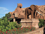 Elephants stand guard on the Bridge of Time.
