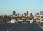 The centre of Johannesburg, a city of 5 million people, seen from the motorway.