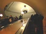 Escalators take passengers down to the trains.