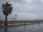 The Hassan II mosque on a rainy day.
