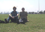 Me and Chris on the lawn in front of the Royal Palace.