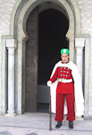 A guard outside the entrance to the Mausoleum of Mohammed V.