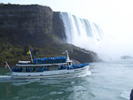 After cruising by the American Falls, the boats head for the Horseshoe Falls.
