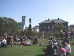 In the afternoon on weekends, people gather on Austurvöllur, the lawn in front of the parliament building, the Alþingshùsit. The Icelandic parliament, the Alþing, dates back to 930 AD., making it the world's oldest.