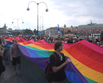 On Saturday, August 1st, the Stckholm Pride Gay Parade marched through the city. One of the entries in the parade was a 250 meters long rainbow flag..