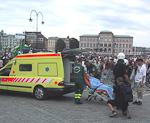 The press officer of Stockholm pride was attacked by the mob, and had to be taken to the hospital.