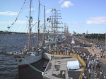 I was in Riga when the Cutty Sark Tall Ships Race paid a visit to the city on their way from Finland to Poland. The harbor was crowded with people.