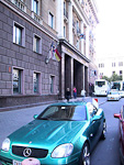 My car parked outside Hotel Riga, where I stayed. The National Opera in the background.