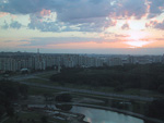 Sunset over Minsk seen from Hotel Belarus.