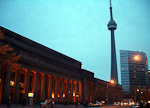 The CN Tower and Union Station. The tower reaches a height of 553 meters, and is the tallest structure in the world.