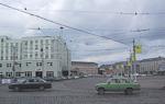 A Lada crossing the central square...