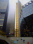 One of the two gold covered towers of Royal Bank Plaza. The buildings were designed by a local architect in the mid 1970s, and are completely covered by a thin layer of gold.