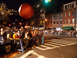 The crowd waiting to see the 31st Annual Greenwich Village Halloween Parade was entertained by a big balloon before the parade started.