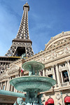 Hotel Paris Las Vegas has a replica of the Paris Eiffel Tower at half the size of the original. It is one of the few attractions not made of plastic - it is made of 5,000 tons of steel and is 165 meters high (540 feet).