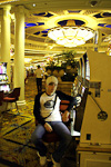 Anton in the casino of Hotel Monte Carlo. There is a long way to go from this to the same style as in Monte Carlo, Monaco.