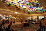 The ceiling lobby at Bellagio is decorated with over 2000 hand-blown glass flowers, created by Dale Chihuly.