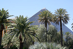 Hotel Luxor from 1993. The pyramid is 106 meters, while the Great Pyramide of Giza (Egypt) is 137. The hotel contains the word's largest atrium, and the world's most powerful spotlight - pointing directly upwards from the top.