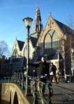 This is me in front of the Old Church (Oude Kerk) from around 1300.