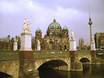 Schloßbrücke (Castle bridge) and Berlin Cathedral (Berliner Dom) on the cathedral\'s 100th birthday. The cathedral was inaugurated by Kaiser Wilhelm II on 27th of February, 1905, destroyed by bombs in 1944 and rebuilt in 1993.