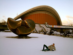 This oyster-like building was erected in 1957 as a gift from USA. In 1989 it was turned into the House of World Cultures. Anton is posing in the snow.