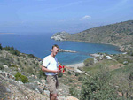 This is Erik at a hilltop overlooking an idyllic bay on the western coast of Chios island.