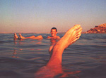 You should not shave the same day as swimming in the Dead Sea - if you do, the salt water will irritate your skin. But besides that, it was pretty nice to just float around.