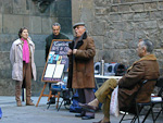 Outside the Barcelona Cathedral, a has-been opera singer tries to make a living.