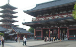 The Asakusa Kannon Temple, or Sensoji Temple, is a buddist temple that was first built during the 7th century. It has been rebuilt several times after war, earthquakes and fires, but it has still kept the original look. To the left is a five-storey pagoda.