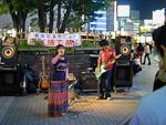 Some local artists entertaining the crowd outside Studio Alta next to Shinjuku station.