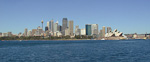 The skyline of the Central Banking District in Sydney. The Opera House is to the right.