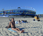 Behind me is the temporary stadium built for the beach volleyball events of the Olympics.