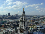 Our first stop was St. Paul's Cathedral. This is the view from the roof of the building. In the foreground is one of the towers of the cathedral, and in the distance you can see the London Eye bye the river Thames.